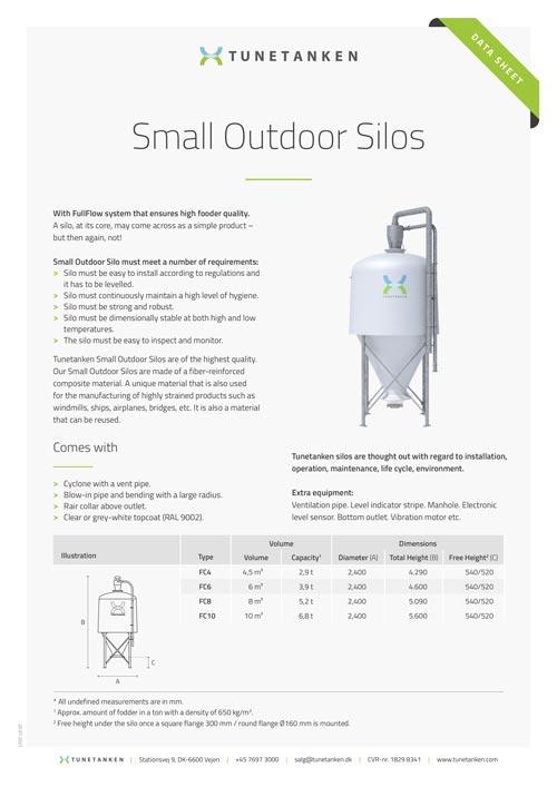 Small Outdoor Silos - Data sheet